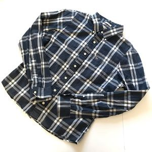Abercrombie & Fitch Blue Plaid Button Shirt Size L